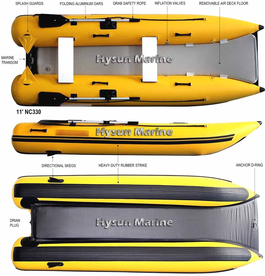 11' Inflatable Mini Catamaran CNC330_Lightweight_Yellow_02